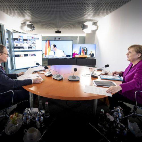 Wie sieht der Corona-Fahrplan aus? Darüber haben Bundeskanzlerin Angela Merkel (CDU), der Regierende Bürgermeister von Berlin, Michael Müller (SPD) sowie die Ministerpräsident:innen der Länder beraten.