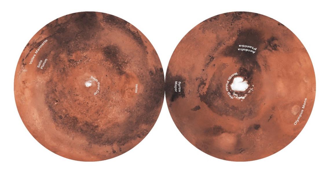 Double-sided Gott Equidistant Azimuthal_Karten Projektion vom Mars