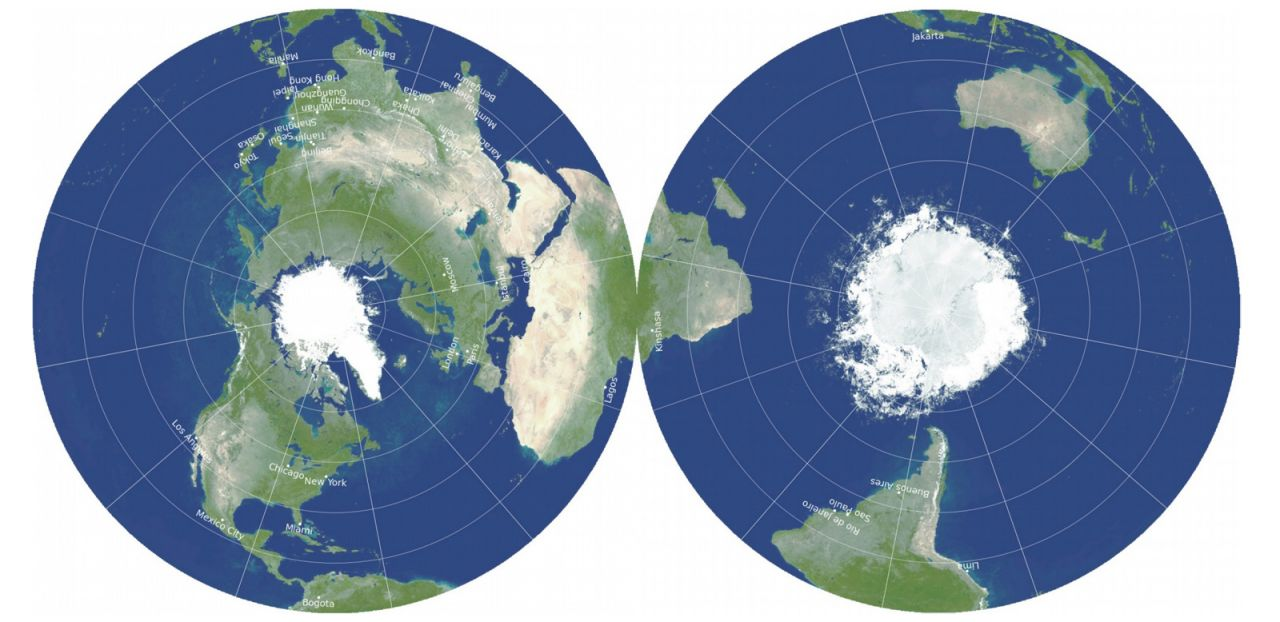Die Double-sided Gott Equidistant Azimuthal-Kartenprojektion der Erde