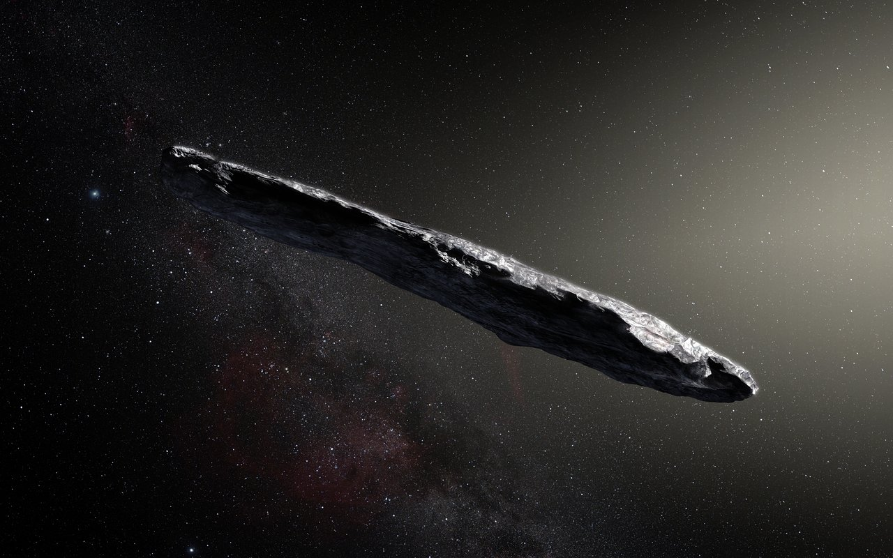 Künstlerische Darstellung des interstellaren Asteroiden Oumuamua