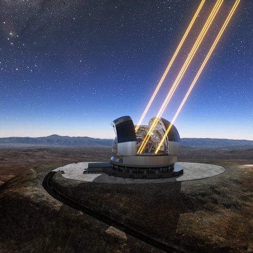 Darstellung des Extremely Large Telescope auf dem Cerro Armazones im Norden Chiles. Das im Bau befindliche Teleskop der der europäischen Südsternwarte ESO ist hier mit mit eingeschalteten Lasern gezeigt, die künstliche Sterne in der Hochatmosphäre erzeugen.