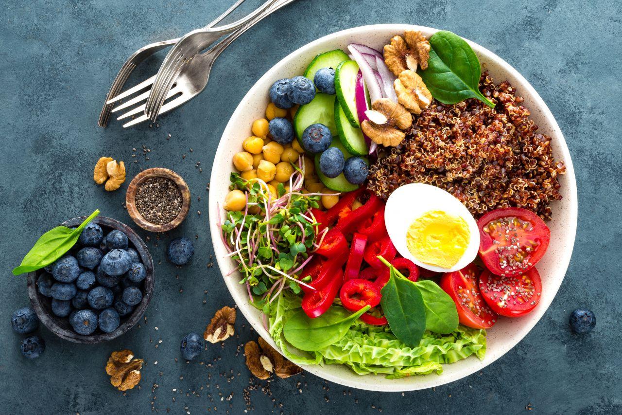 Gemüse, Obst, Vollkornprodukte und Hülsenfrüchte