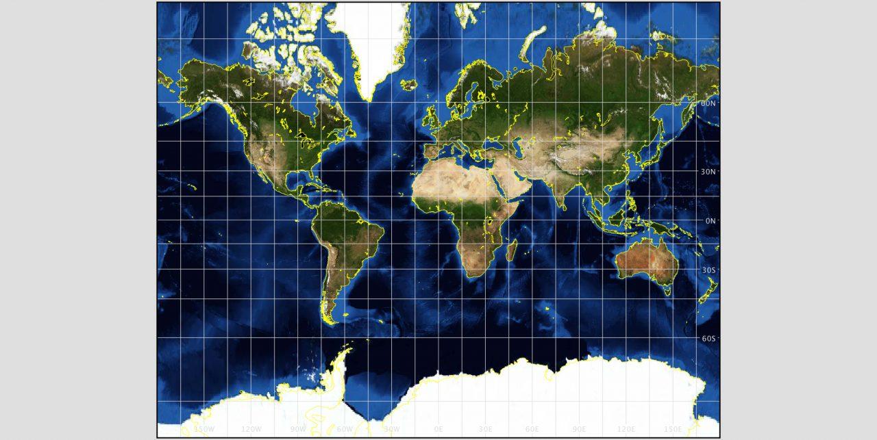 Mercator-Projektion der Erde