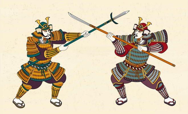 Zwei Samurais kämpfen gegeneinander