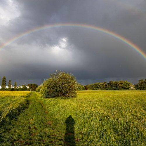 Im hessischen Bad Homburg führten die schnellen Wetterumschwünge von Sonne und Regen zu einem Regenbogen.