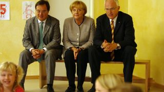 Armin Laschet 2008 mit Angela Merkel und Jürgen Rüttgers – Ministerpräsident von Nordrhein-Westfalen.