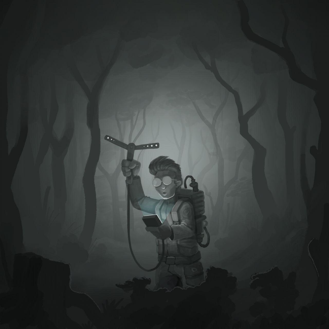 Schäfer im Wald mit Schafsherde