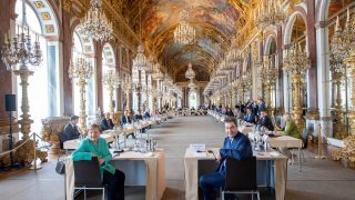 Markus Söder empfängt Bundeskanzlerin Angela Merkel auf Schloss Herrenchiemsee