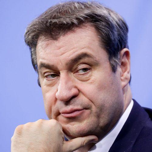 Markus Söder bei einer Pressekonferenz 2021. Er möchte für die Union als Kanzlerkandidat antreten.