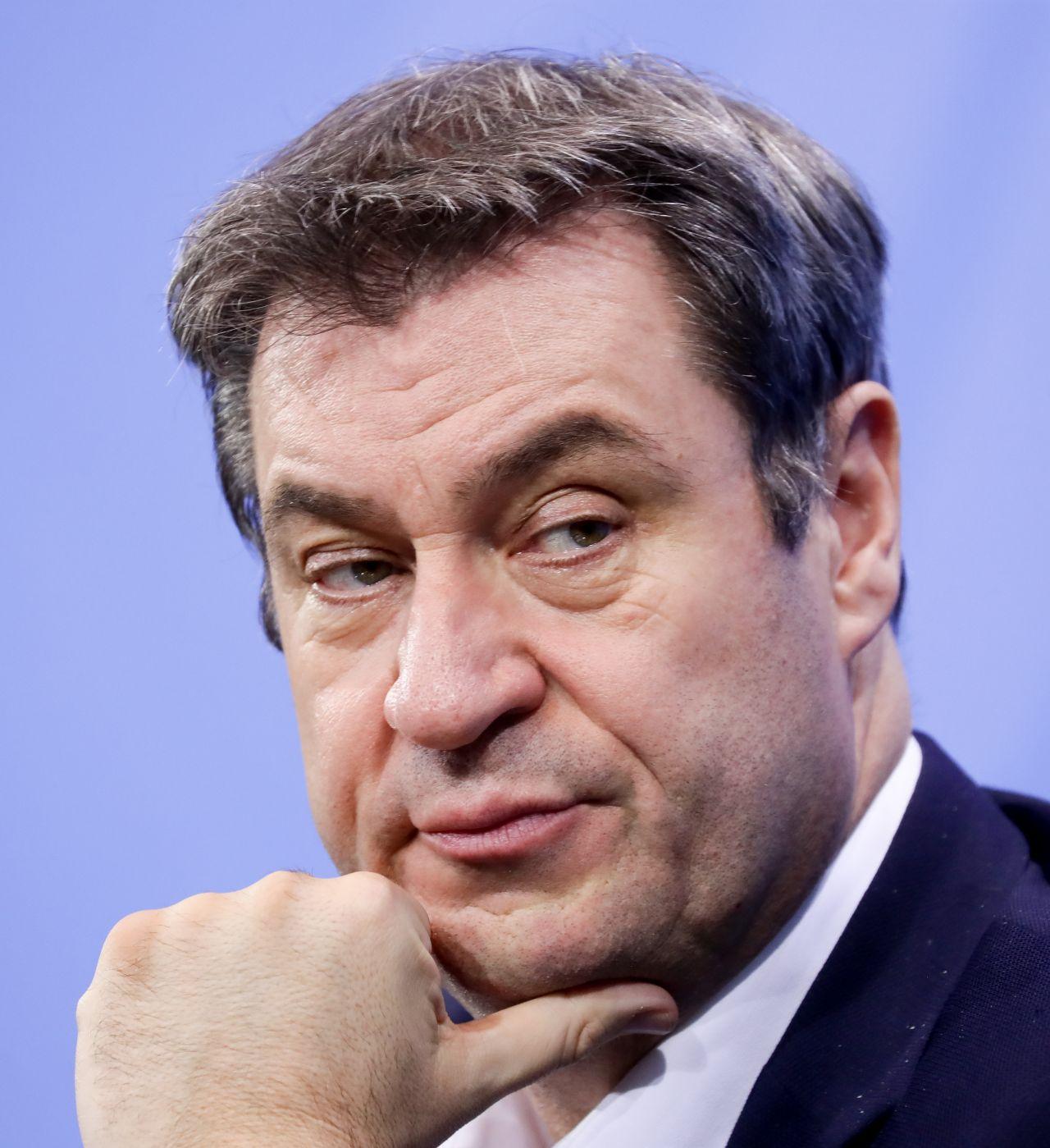 Markus Söder bei einer Pressekonferenz 2021