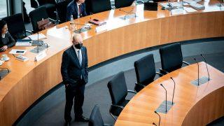Bundesfinanzminister Olaf Scholz vor dem Wirecard-Untersuchungsausschuss des Bundestages im April 2021