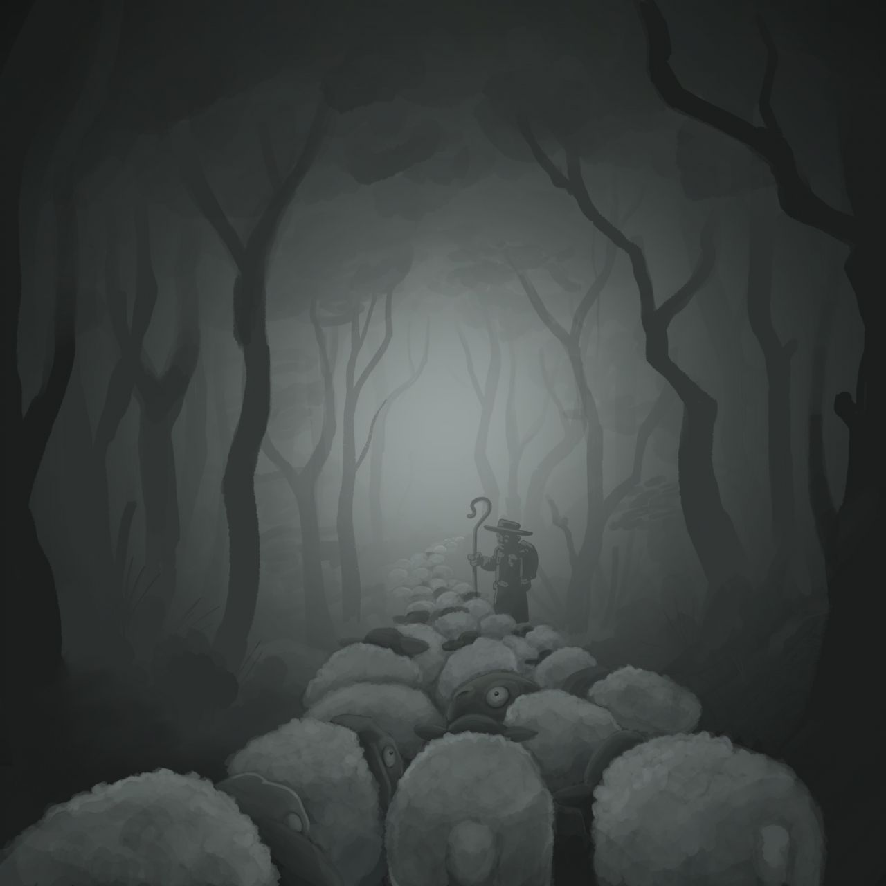 Schäfer mit Schafen im Wald