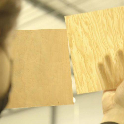 Mann hält zwei dünne Holzscheiben nebeneinander