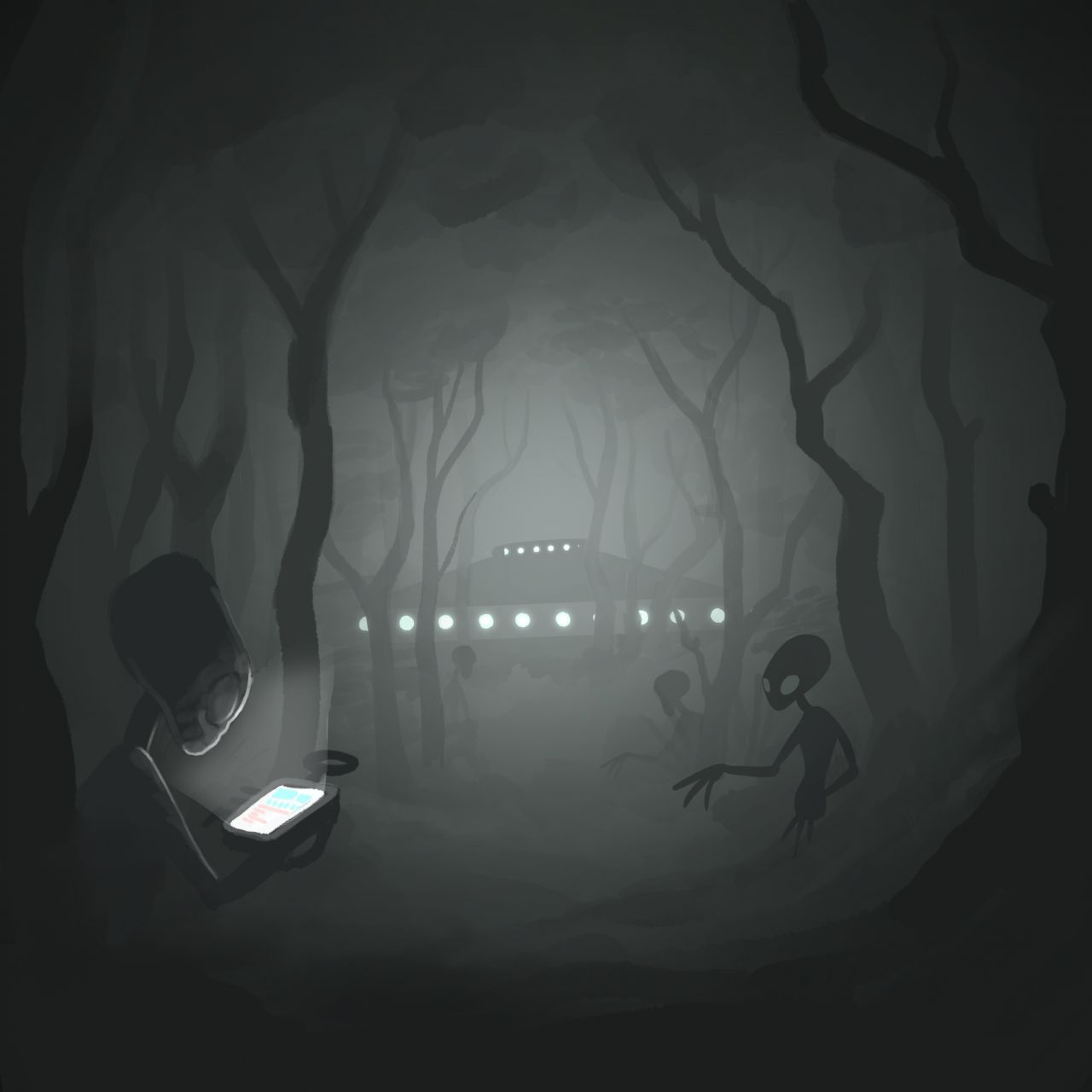 Lichtung und Ufos im Wald