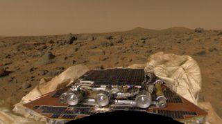 Mars-Rover Sojourner nach der Landung