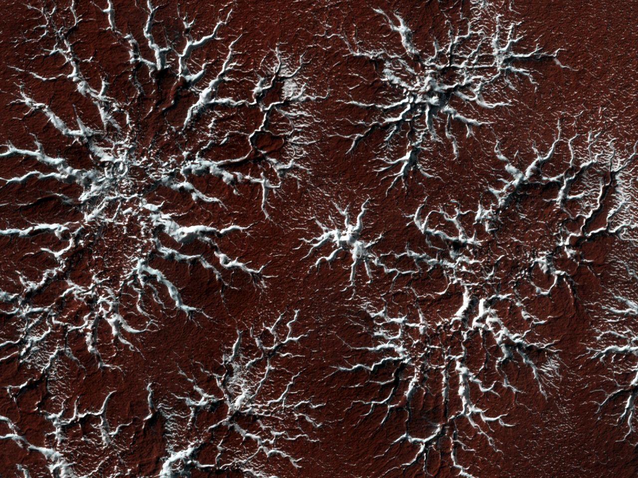 Spinnenartige Landschaft auf dem Mars