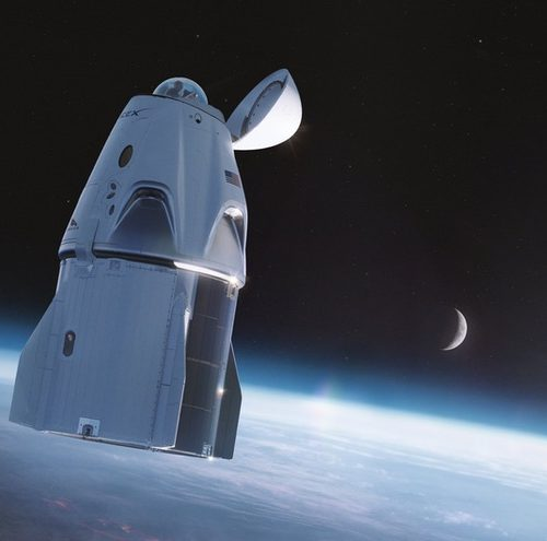 Das Raumschiff Crew Dragon soll für den Ausflug eine Aussichtskuppel erhalten.