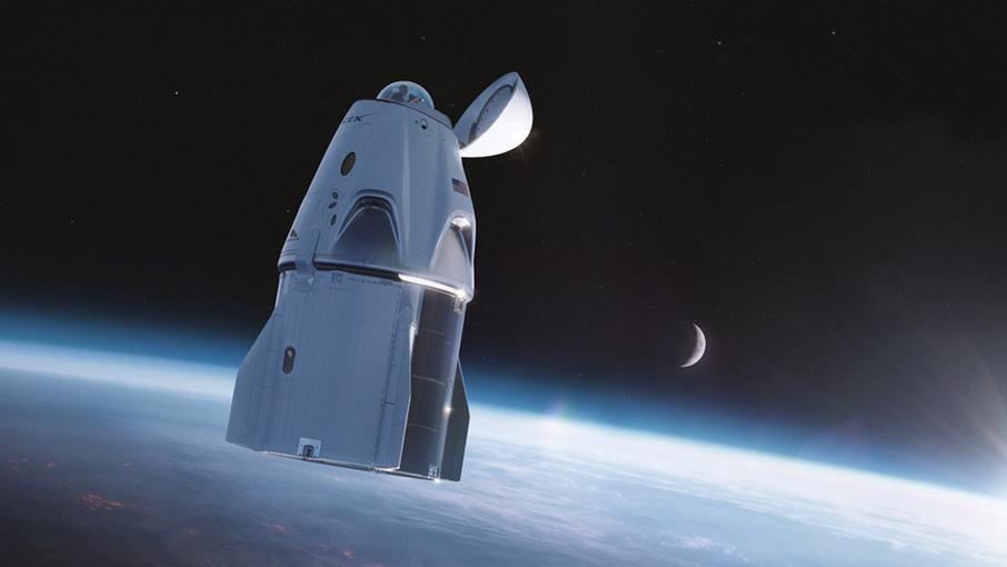 Das Raumschiff Crew Dragon mit Aussichtskuppel