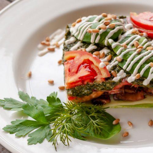 Champignon-Zucchini-Lasagne mit Tomaten