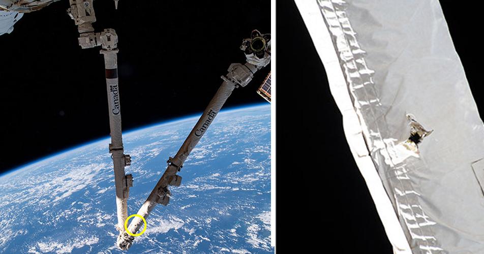 Ein Loch im Roboter-Arm der ISS