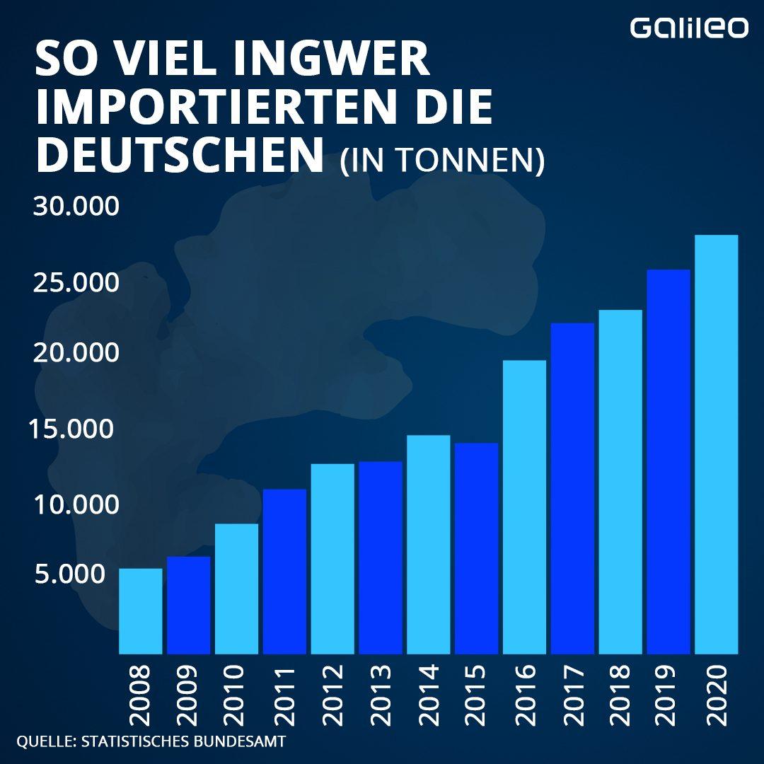 Ingwer-Import in Deutschland in Tonnen