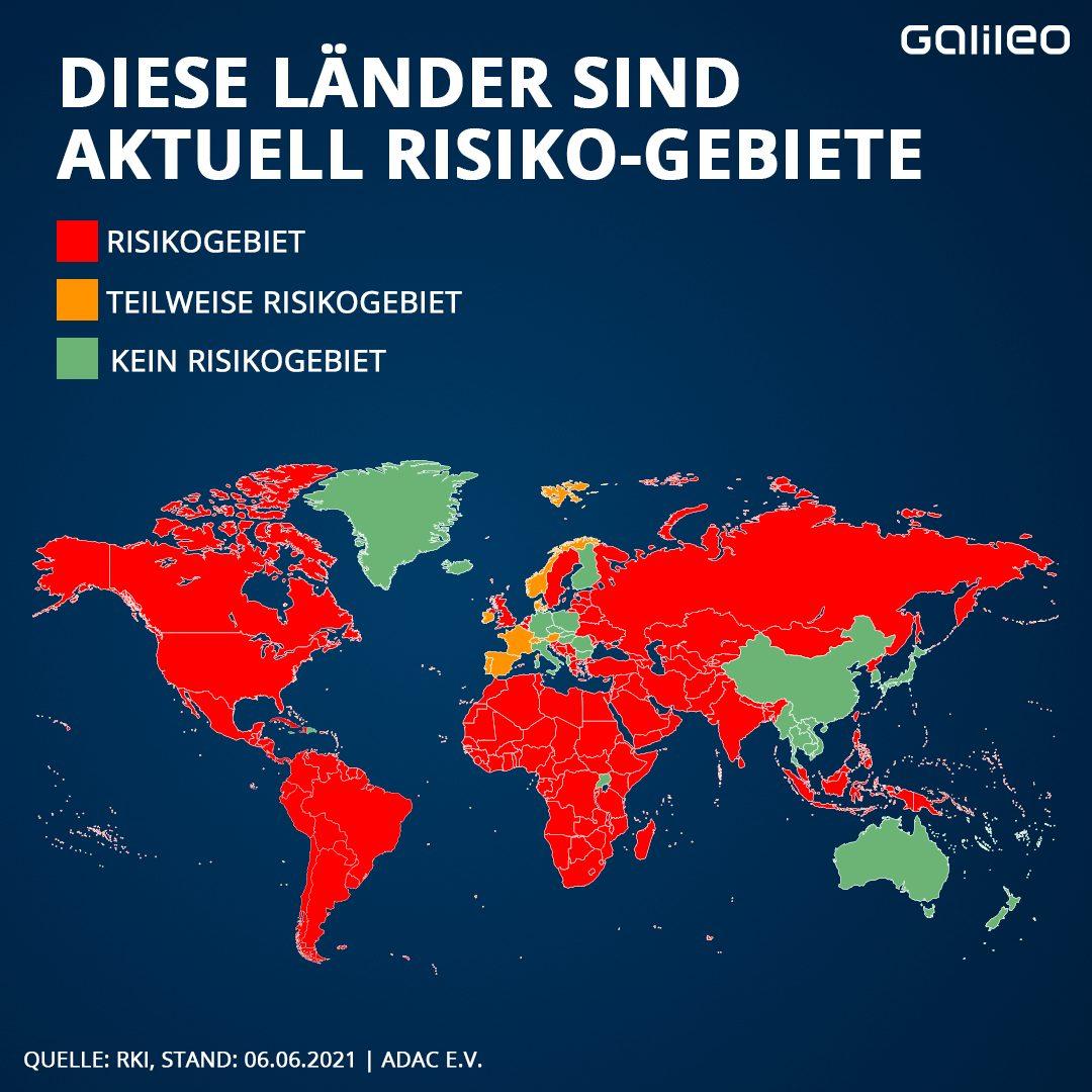 Grafik Diese Länder sind aktuell Risiko-Gebiete