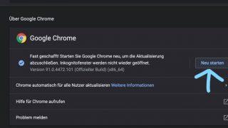 """Dann findest du einen Hinweis auf die Versions-Nummer deines Browsers. Sie sollte nicht niedriger als niedriger als 91.0.4472.114 sein. Klicke auf """"Neu starten"""" um das Update abzuschließen."""