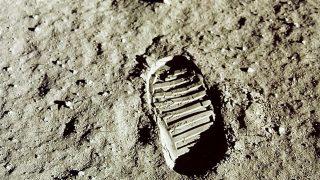 Mondlandung Verschwörung Fußabdruck