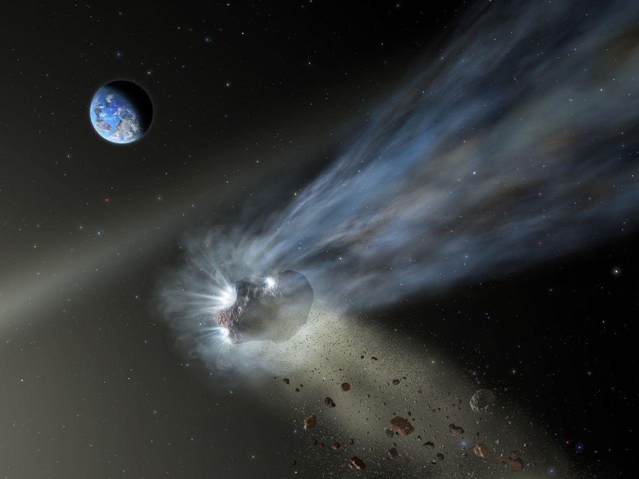 Komet mit Trümmerwolke