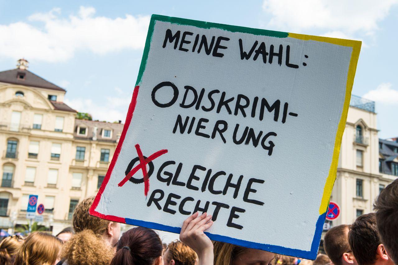 Plakat auf dem CSD in München