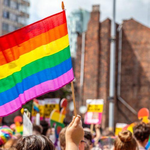 Menschen schwenken die Regenbogenflagge bei einer Demo.
