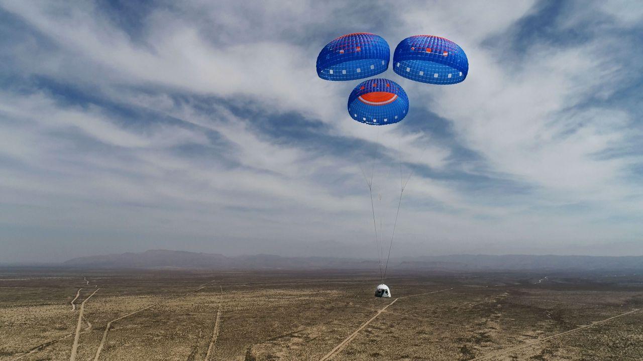 Blue Origin Die Weltraumtouisten landen in der NewShepard-Kapsel wie einst die Apollo-Astronauten - am Fallschirm