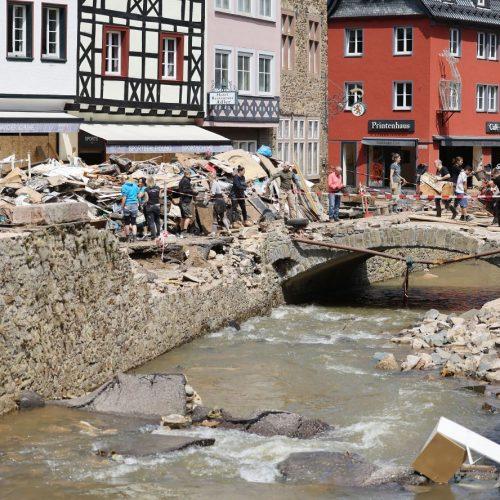 Hochwasser in Bad Münstereifel in der Innenstadt