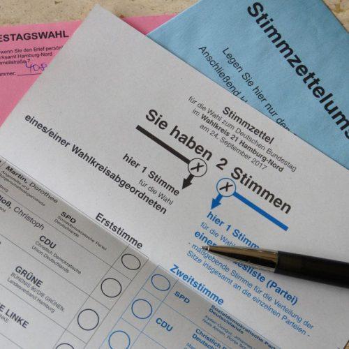 Briefwahlunterlagen für die Bundestagswahl 2017