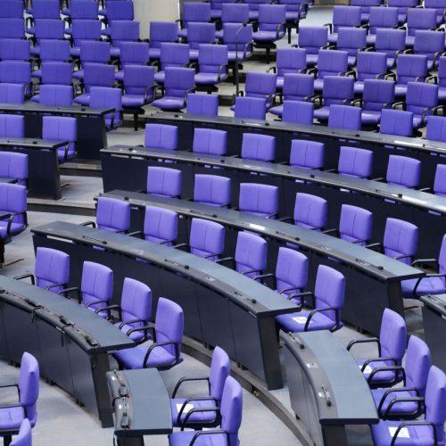 Der leere Plenarsaal im deutschen Bundestag.