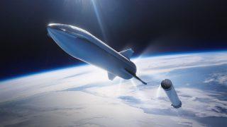 Das Raumschiff Starship trennt sich von der Superheavy-Stufe