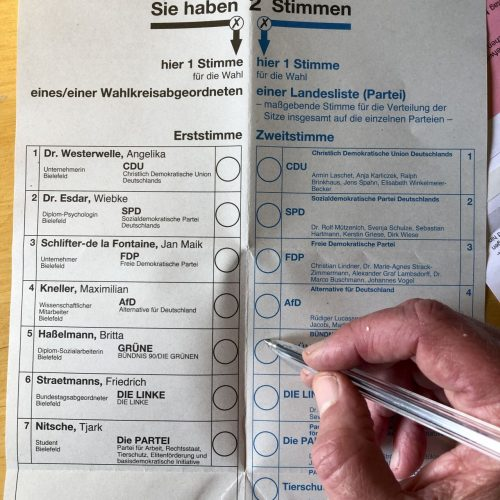 Wahlzettel Bundestagswahl 2021