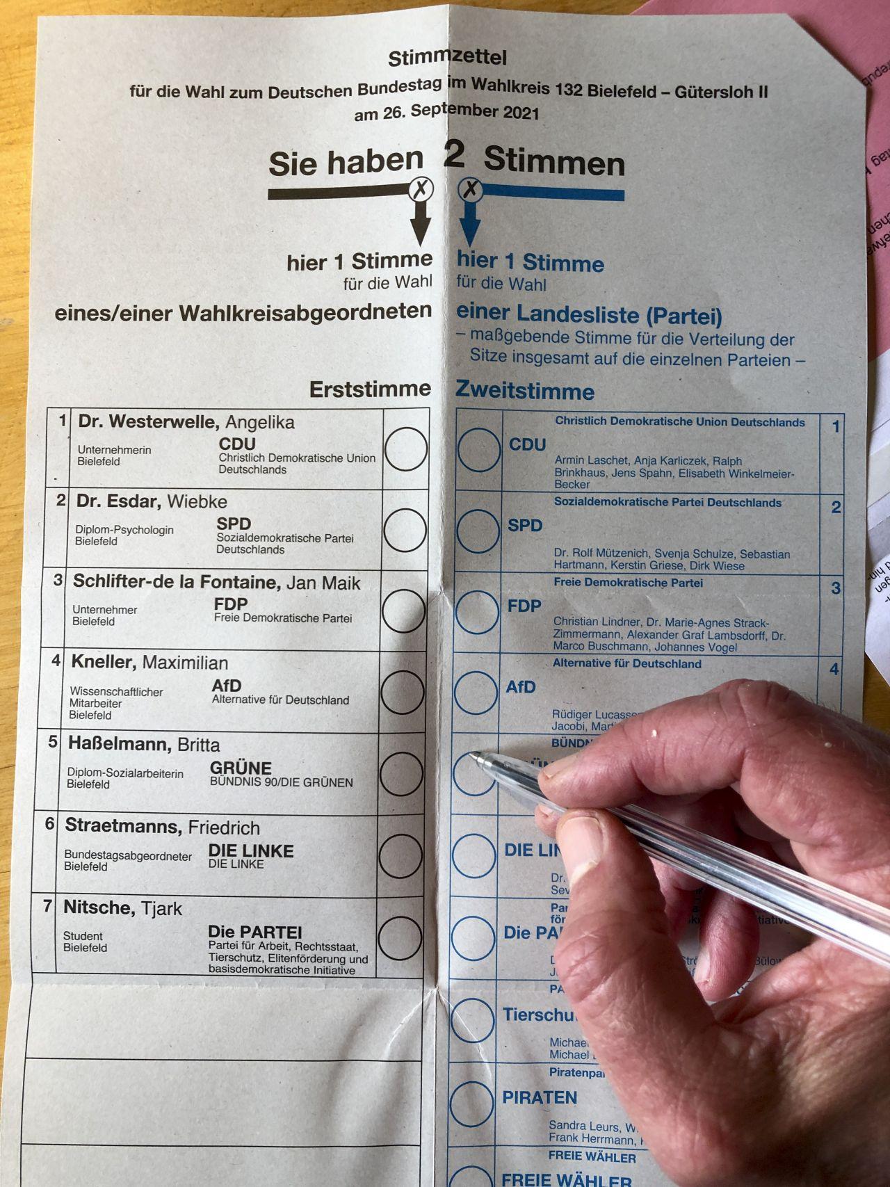 Wie sieht der Wahlzettel für die Bundestagswahl 2021 aus?