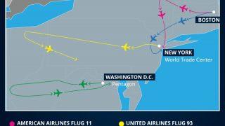 Flugrouten der entführten Flugzeuge 9/11