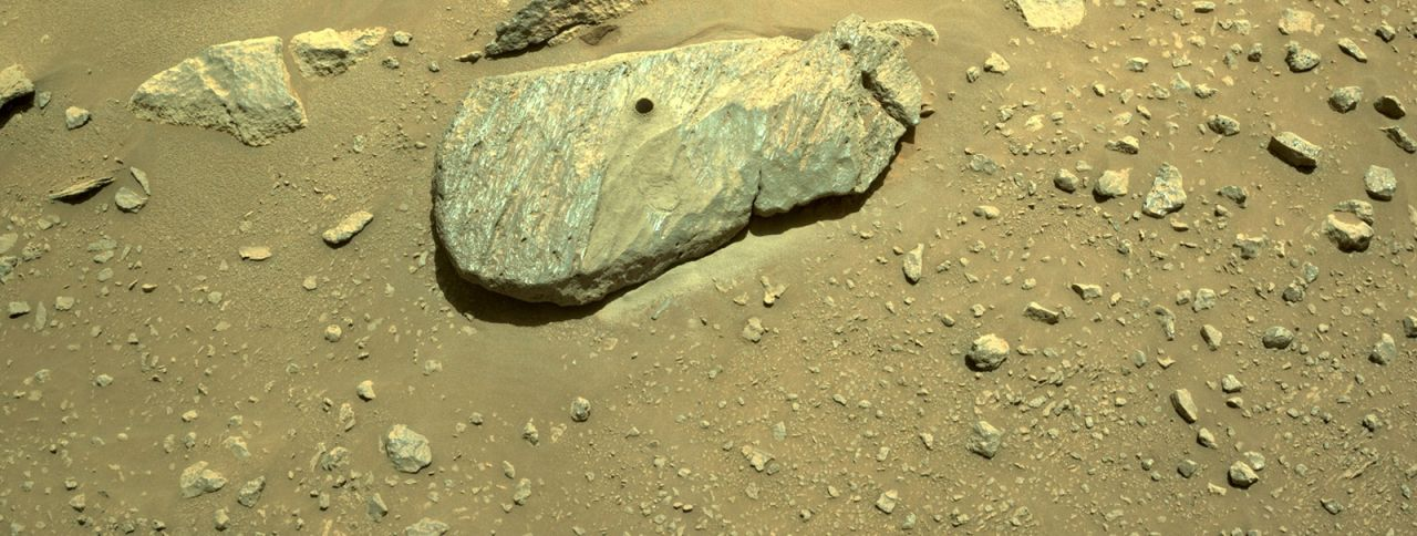 NASA Rover Perseverance: Bohrloch in Marsstein