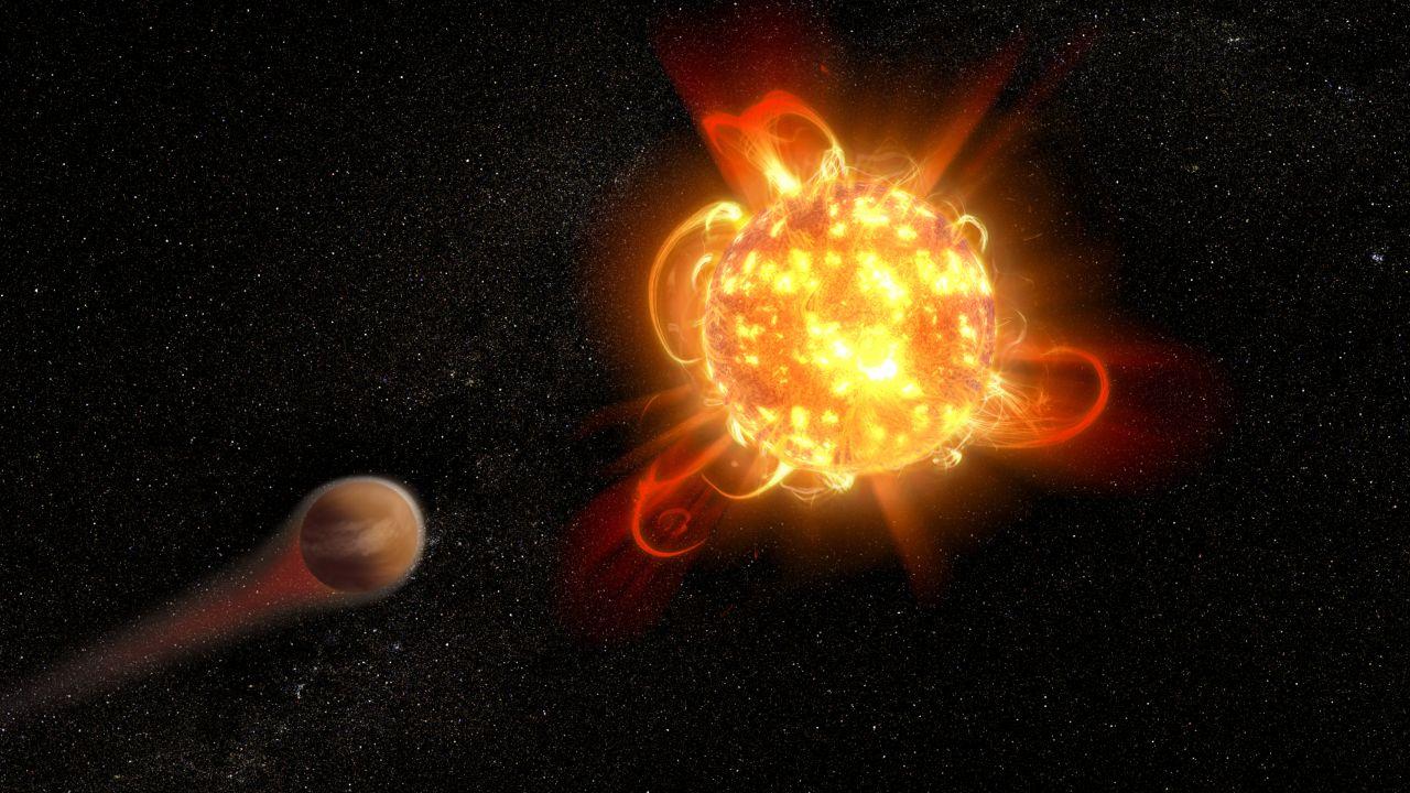 Roter Zwerg mit Exoplanet