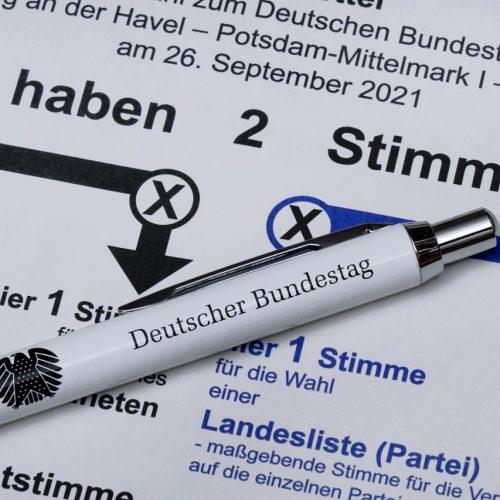 Wahlzettel für die Bundestagswahl.